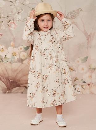 Brown - Floral - Round Collar - Cotton - Unlined - Girls` Dress