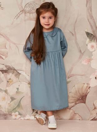 Indigo - Round Collar - Cotton - Unlined - Indigo - Girls` Dress