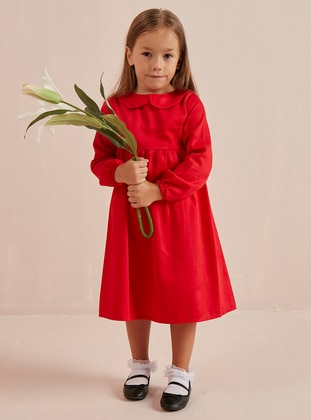 Red - Round Collar - Cotton - Unlined - Red - Girls` Dress