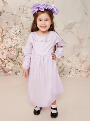 Lilac - Round Collar - Cotton - Unlined - Lilac - Girls` Dress