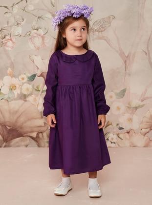 Purple - Round Collar - Cotton - Unlined - Purple - Girls` Dress