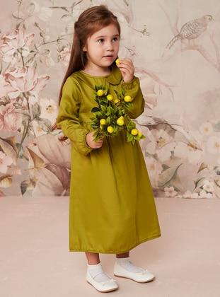 Green - Round Collar - Cotton - Unlined - Green - Girls` Dress