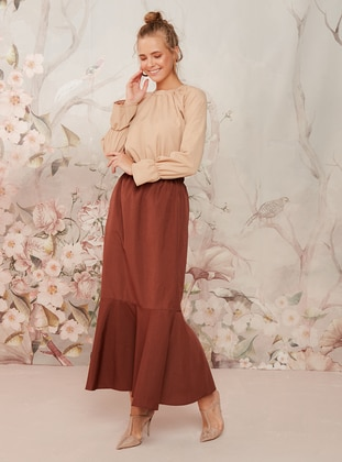 Brown - Unlined -  - Skirt