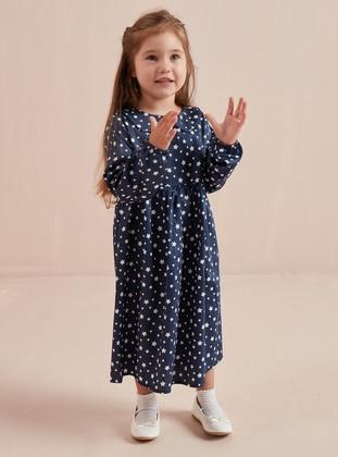 Navy Blue - Multi - Round Collar - Cotton - Unlined - Navy Blue - Girls` Dress