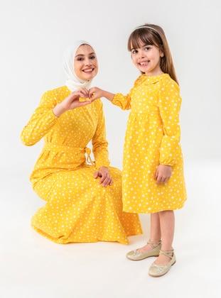 Yellow - Multi - Round Collar - Cotton - Unlined - Yellow - Girls` Dress