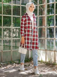 Red - Checkered - Point Collar -  - Tunic