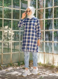 Blue - Checkered - Point Collar -  - Tunic