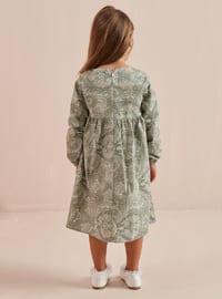 Green - Multi - Round Collar - Cotton - Unlined - Green - Girls` Dress