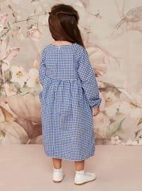 Blue - Gingham - Round Collar - Cotton - Unlined - Blue - Girls` Dress