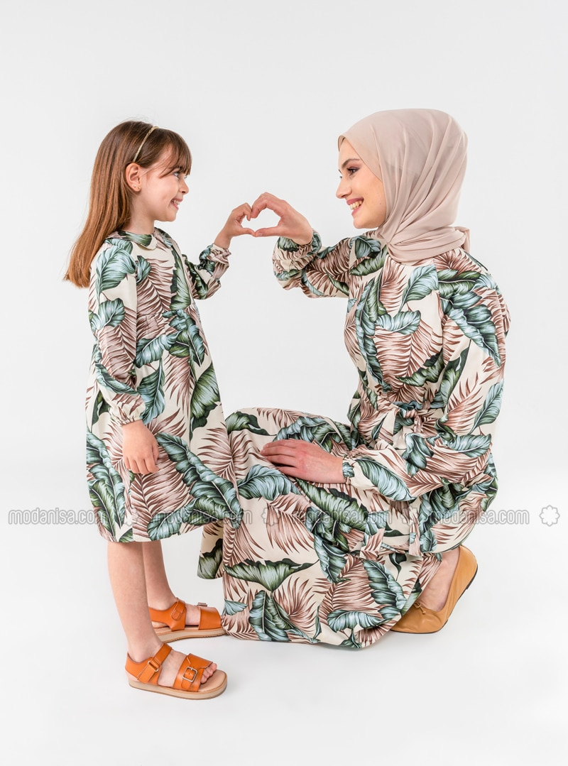 Multi - Round Collar - Cotton - Unlined - Green - Girls` Dress