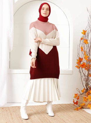 Maroon - Crew neck - Knit Tunics