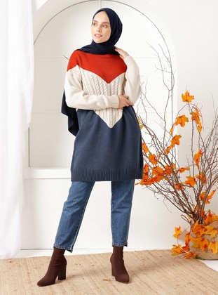 Navy Blue - Crew neck - Knit Tunics