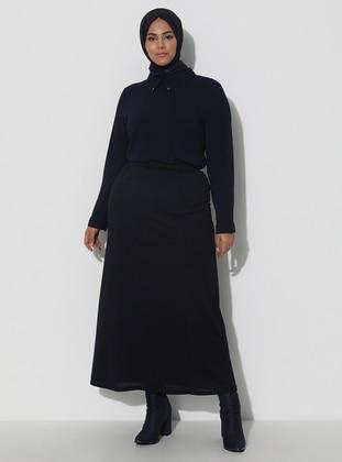 Navy Blue - Fully Lined - Viscose - Skirt