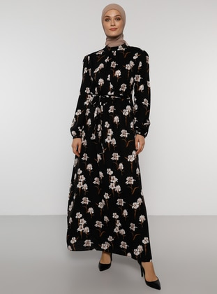 Black - Floral - Polo neck - Unlined - Viscose - Dress