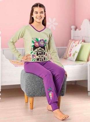 V neck Collar - - Unlined - Purple - Green - Girls` Pyjamas