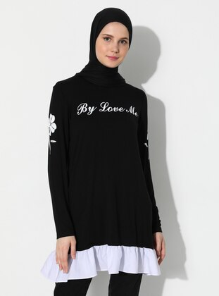 Black - Crew neck -  - Tunic