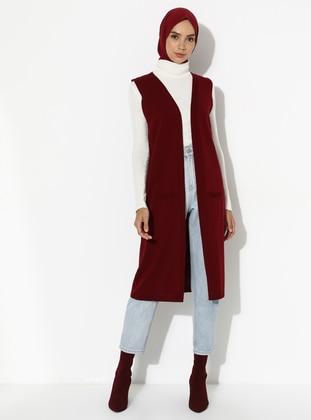 Maroon - Unlined - Acrylic -  - Vest
