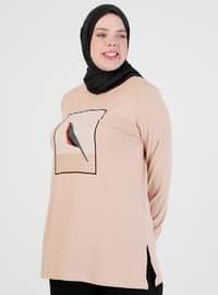 Camel - Crew neck - Tunic
