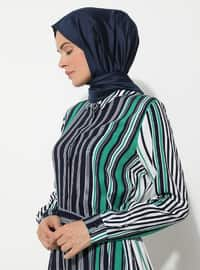 Navy Blue - Green - Stripe - Point Collar - Unlined - Viscose - Dress