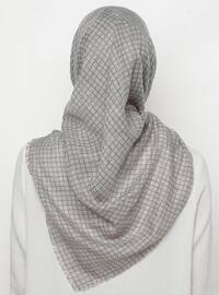 Gray - Black - Printed - Scarf