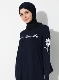 Navy Blue - Crew neck -  - Tunic