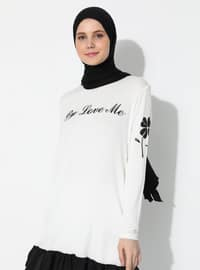 White - Ecru - Crew neck -  - Tunic