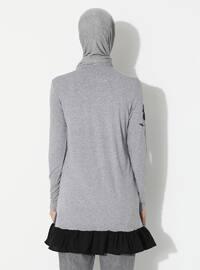 Gray - Crew neck -  - Tunic