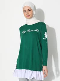 Green - Crew neck -  - Tunic