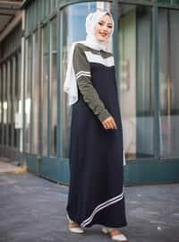 Khaki - Crew neck - Unlined - Cotton - Dress