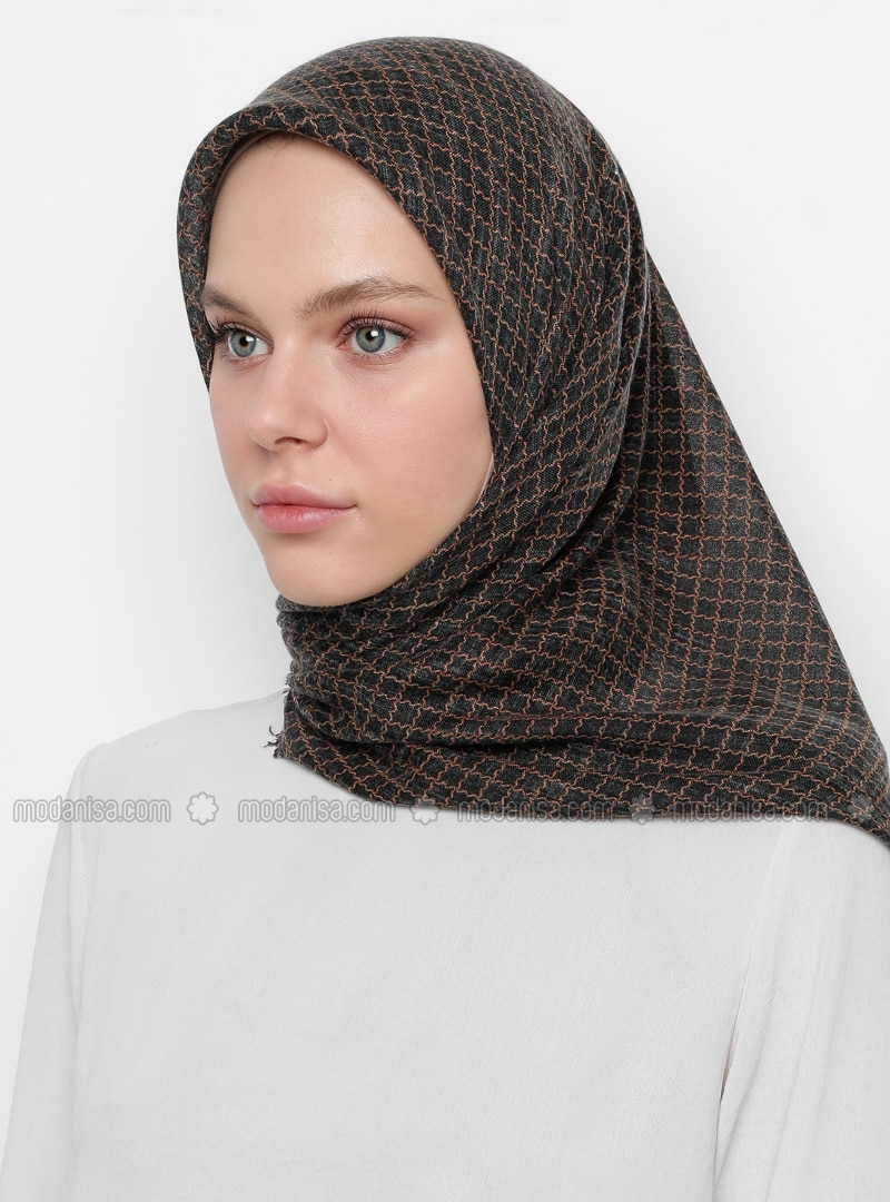 Terra Cotta - Black - Printed - Scarf