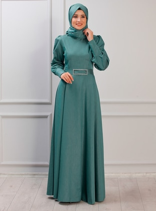 Green Almond - Unlined - Crew neck - Muslim Evening Dress