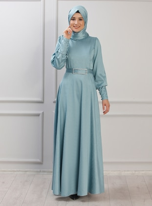 Unlined - Crew neck - Muslim Evening Dress