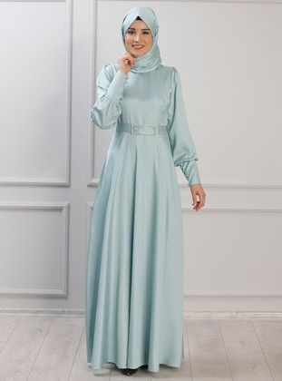 Sea-green - Unlined - Crew neck - Muslim Evening Dress