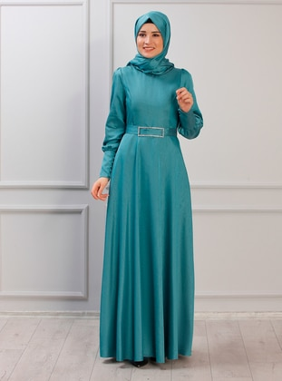 Turquoise - Unlined - Crew neck - Muslim Evening Dress