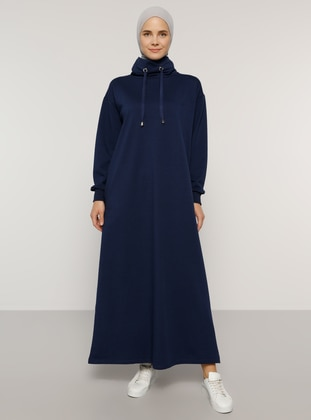 Navy Blue - Polo neck - Unlined -  - Dress