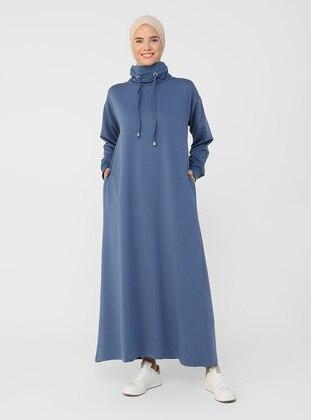 Navy Blue - Polo neck - Unlined - - Dress - Everyday Basic