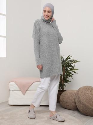 Silver tone - Polo neck - Unlined - Knit Tunics