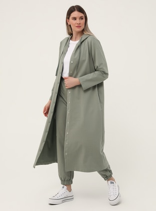 Olive Green - Unlined - Plus Size Coat