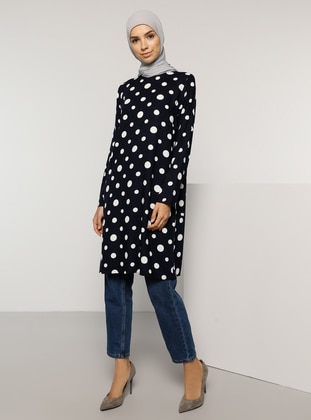 Navy Blue - Polka Dot - Crew neck - Viscose - Tunic