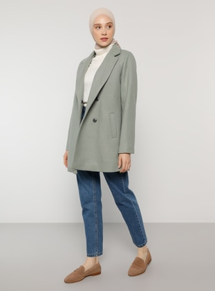 Green - Fully Lined - Shawl Collar - Coat