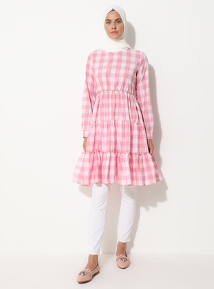 Pink - Checkered - Crew neck -  - Tunic