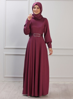 Plum - Unlined - Crew neck - Muslim Evening Dress
