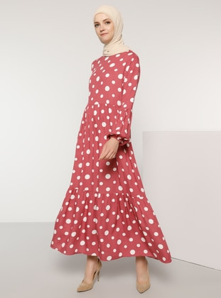 Dusty Rose - Polka Dot - Crew neck - Unlined - Viscose - Dress