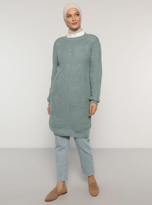 Sea-green - Green - Crew neck - Unlined - Knit Tunics