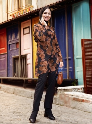 Black - Tan - Floral - Unlined - Suit