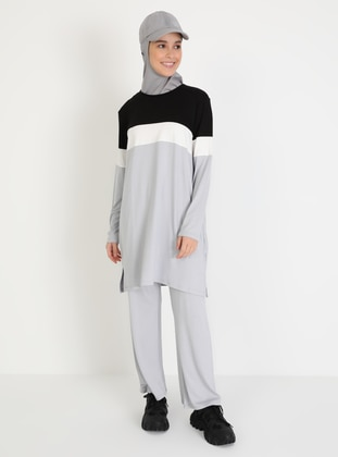 Gray - Black - Unlined - Viscose - Suit