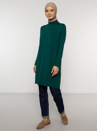 Green - Polo neck - Viscose - Tunic