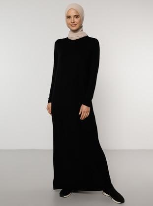 Black - Crew neck - Viscose - Dress