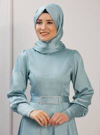 Unlined - Crew neck - Muslim Evening Dress