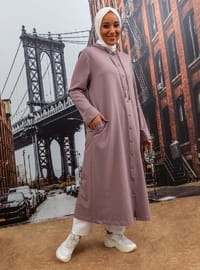 Oversize Hood Detailed Snap Fastener Natural Fabric Sports Topcoat - Dusty Lilac